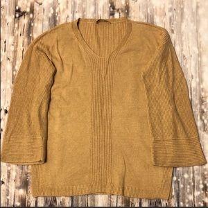 LOFT tan v-neck wide sleeve sweater